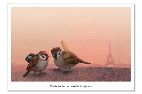 "Postcard ""Paris is owned by the early risers"""