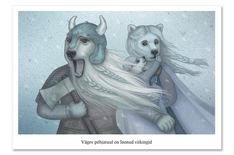 "Postcard ""It is the great North wind that made the Vikings"" (Polar bears)"