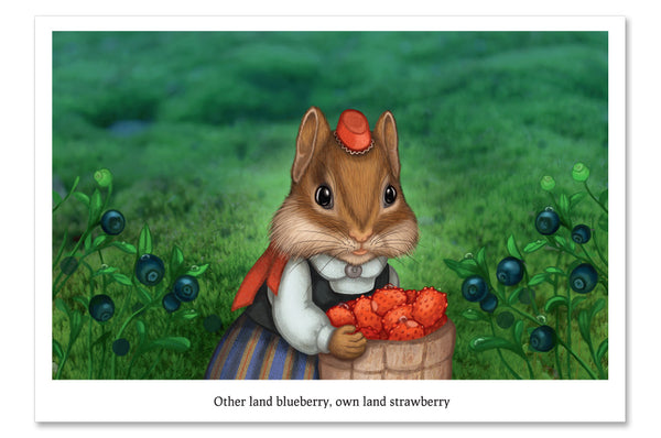 "Postcard ""Other land blueberry, own land strawberry"""