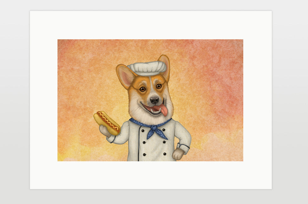 "Print ""An empty belly is the best cook"" (Pembroke Welsh corgi)"