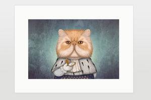 "Print ""Punctuality is the politeness of kings"" (Persian cat)"