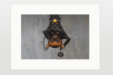 "Print ""He who works, gets dirty"" (Large flying fox)"