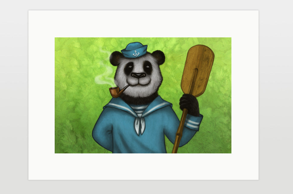 "Print ""Rowing slower will get you further"" (Giant panda)"