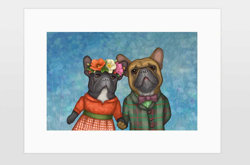 "Print ""A life without love is like a year without summer"" (French bulldogs)"