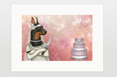 "Print ""The most dangerous food is a wedding cake"" (German Pinscher)"