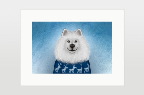"Print ""No snowflake ever falls in the wrong place"" (Samoyed)"
