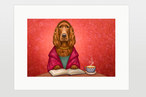 "Print ""Reading books removes sorrow from the heart"" (Irish Setter)"