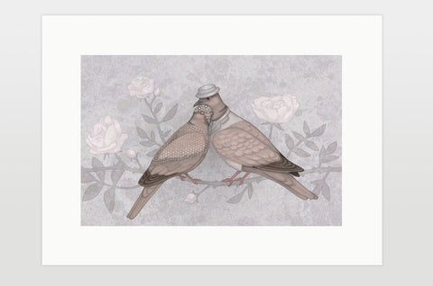 "Print ""Love sees roses without thorns"" (European turtle doves)"