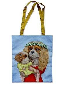 "Tote bag ""Time brings everything to those who can wait for it"" ( Cavalier King Charles Spaniels)"