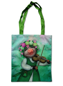 "Tote bag ""The older the fiddle the sweeter the tune"" (Opossum)"