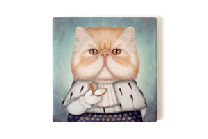 "Trivet ""Punctuality is the politeness of kings"" (Persian cat)"