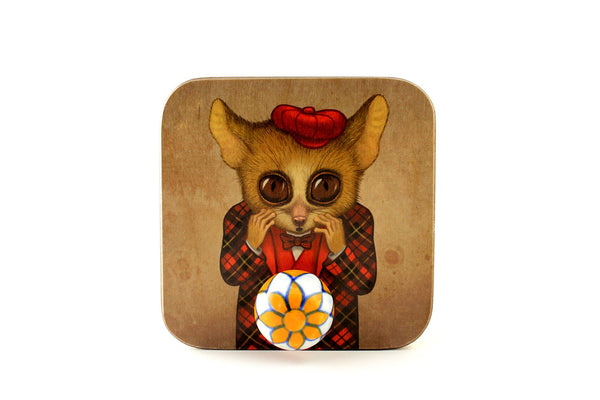 "Wall hanger ""Fear has big eyes"" (Mouse lemur)"