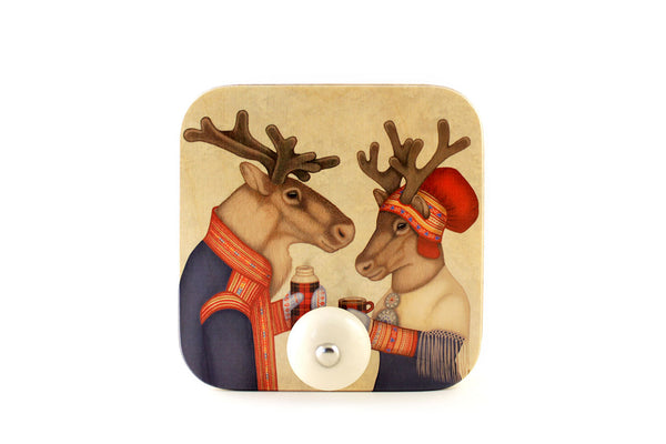 "Wall hanger ""Coffee and love taste best when hot"" (Reindeers)"