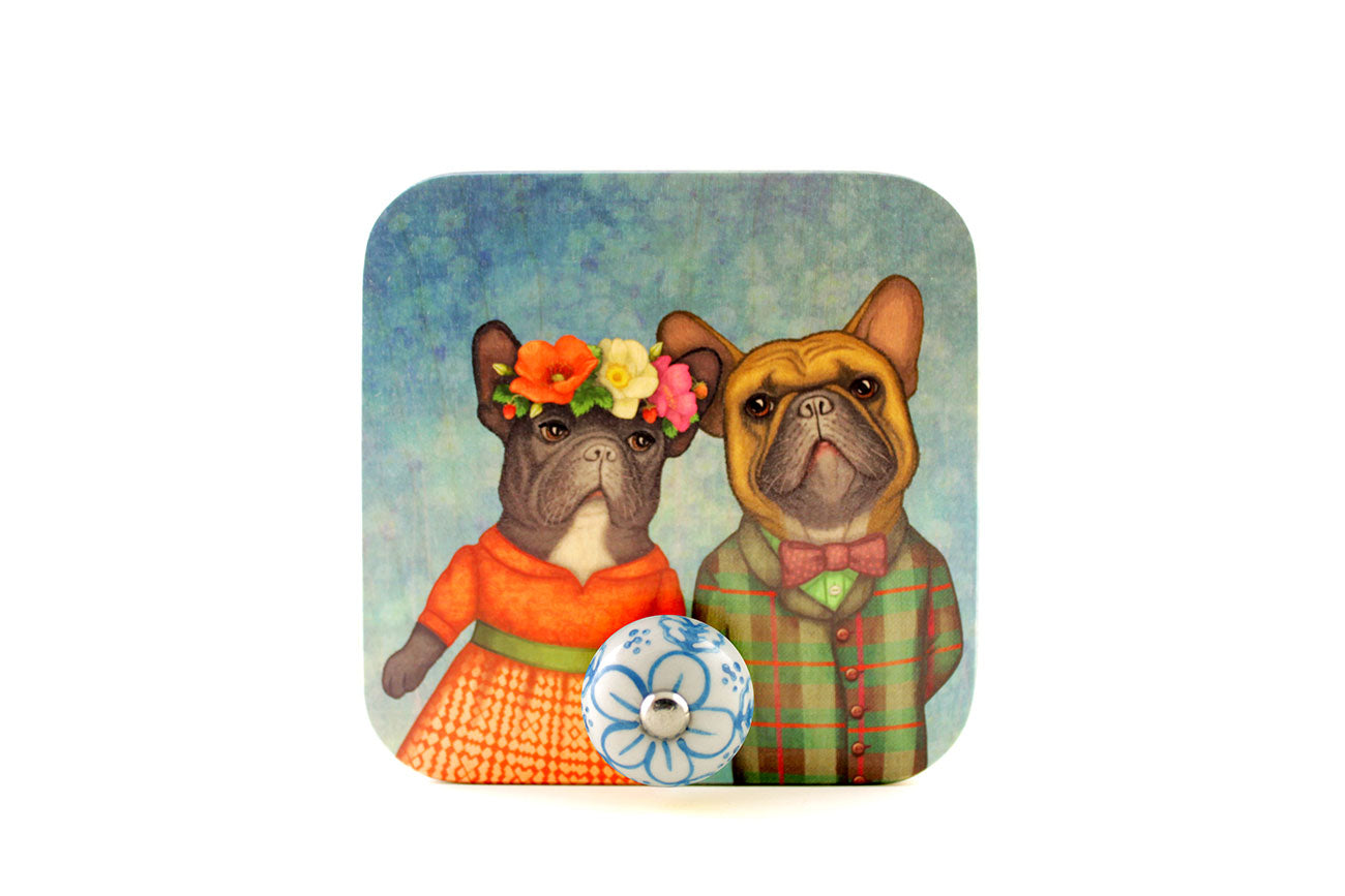 "Wall hanger ""A life without love is like a year without summer"" (French bulldogs)"