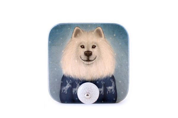 "Wall hanger ""No snowflake ever falls in the wrong place"" (Samoyed)"
