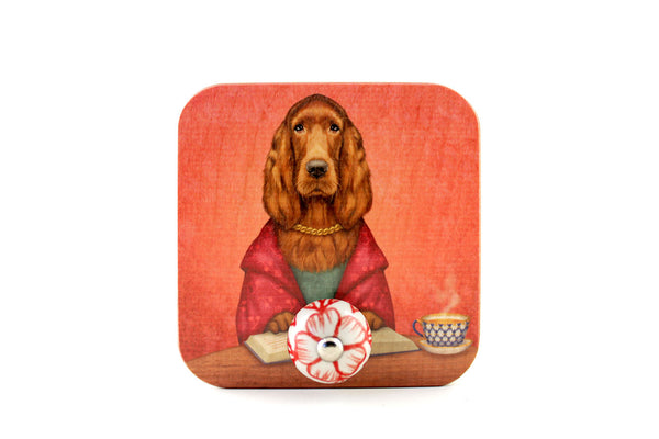 "Wall hanger ""Reading books removes sorrow from the heart"" (Irish Setter)"