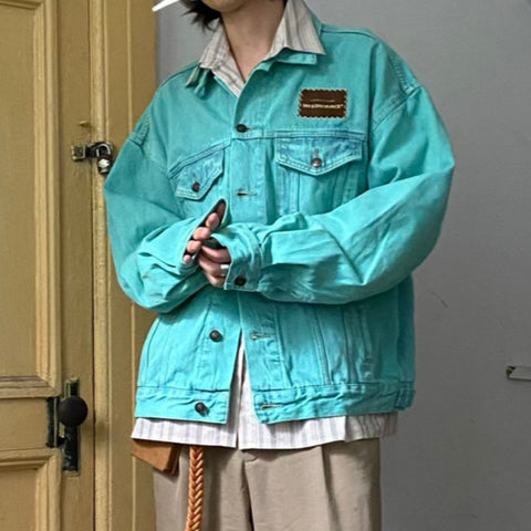 M. Prince Faded Neon Wash Denim Jacket - OH 2X