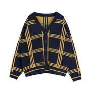 OH Nova Check Front Open Cardigan - OH Garments Asian Trending Streetwear
