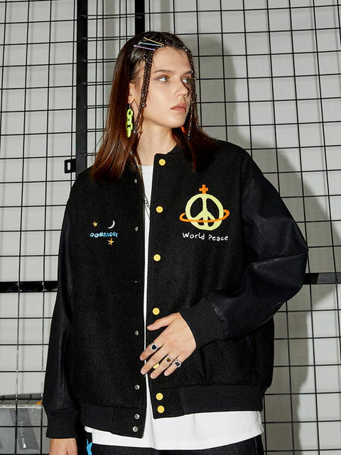 Donsmoke World Peace Leather Varsity Jacket - OH 2X Asia's Trending Streetwear OH2X