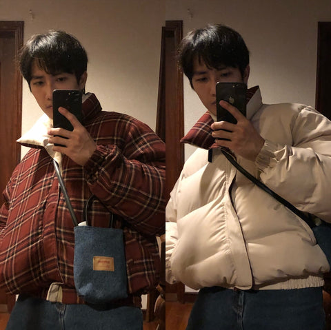 M. Prince Reversible Plaid Puffer