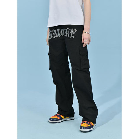 Donsmoke Smoke Rhinestone Pants - OH Garments Asian Trending Streetwear