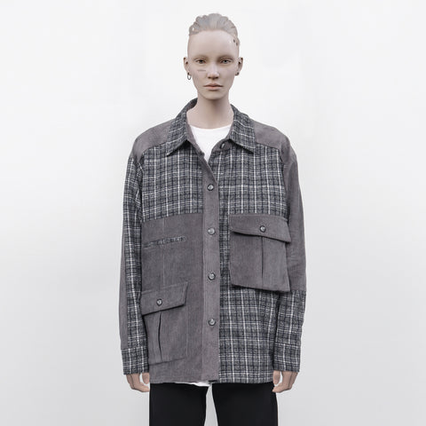 ":Perdu"" Plaid Corduroy Heavy Split Flannel"