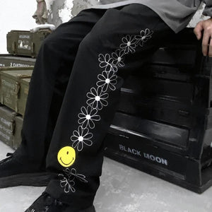 OH Floral Embroidery Smile Pants