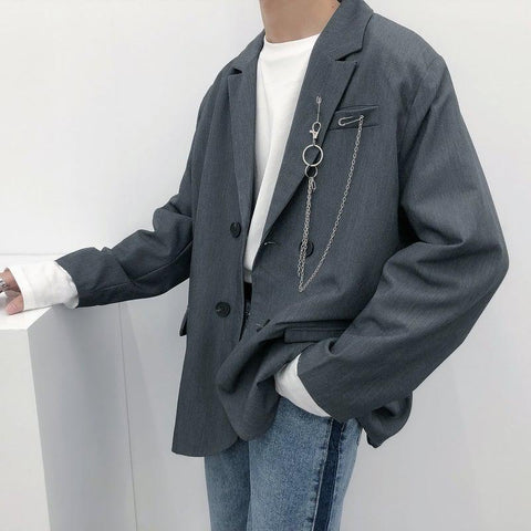 OH Chain Accent Blazer - OH Garments Asian Trending Streetwear