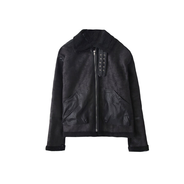 OH Essential Black Shearling Leather Jacket