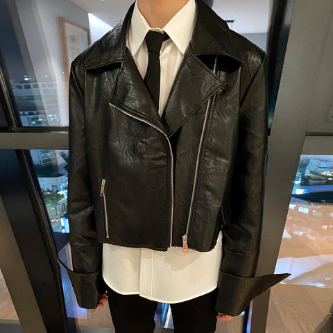 OH Cropped Leather Biker Jacket - OH 2X