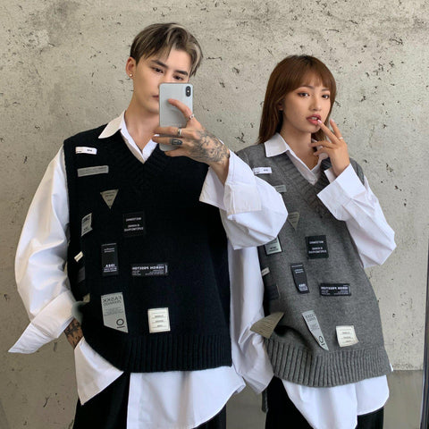 OH Clothing Tags Sweater Vest - OH Garments Asian Trending Streetwear