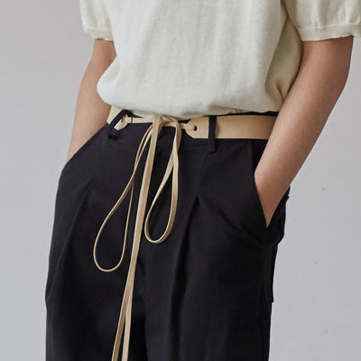 OH Essential Leather Waist Tie Trousers - OH 2x
