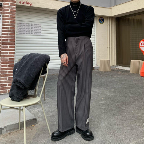 OH Wide Striped Pants - OH Garments Asian Trending Streetwear