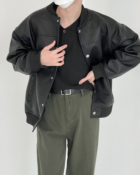 OH Leather Baseball Jacket - OH Garments Asian Trending Streetwear