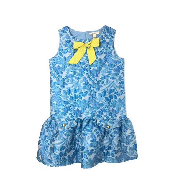 Girls Drop Waist Jacquard Dress