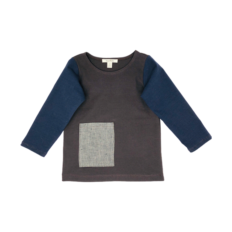 Boys Brown Top With Linen Pocket