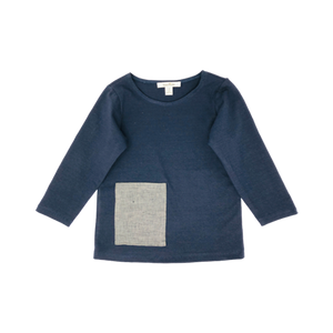 Boys Blue Navy Top With Linen Pocket
