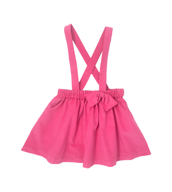 Girls Pink Suspender Corduroy Skirt