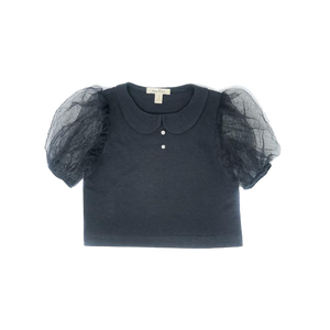 Girls tulle puff short sleeve top