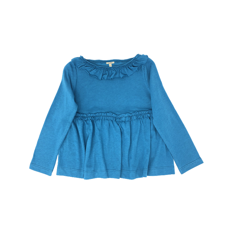 Girls'Blue Ruffle-Trimmed Top