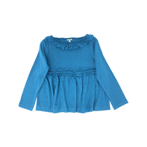 Girls Blue Ruffle-Trimmed Top