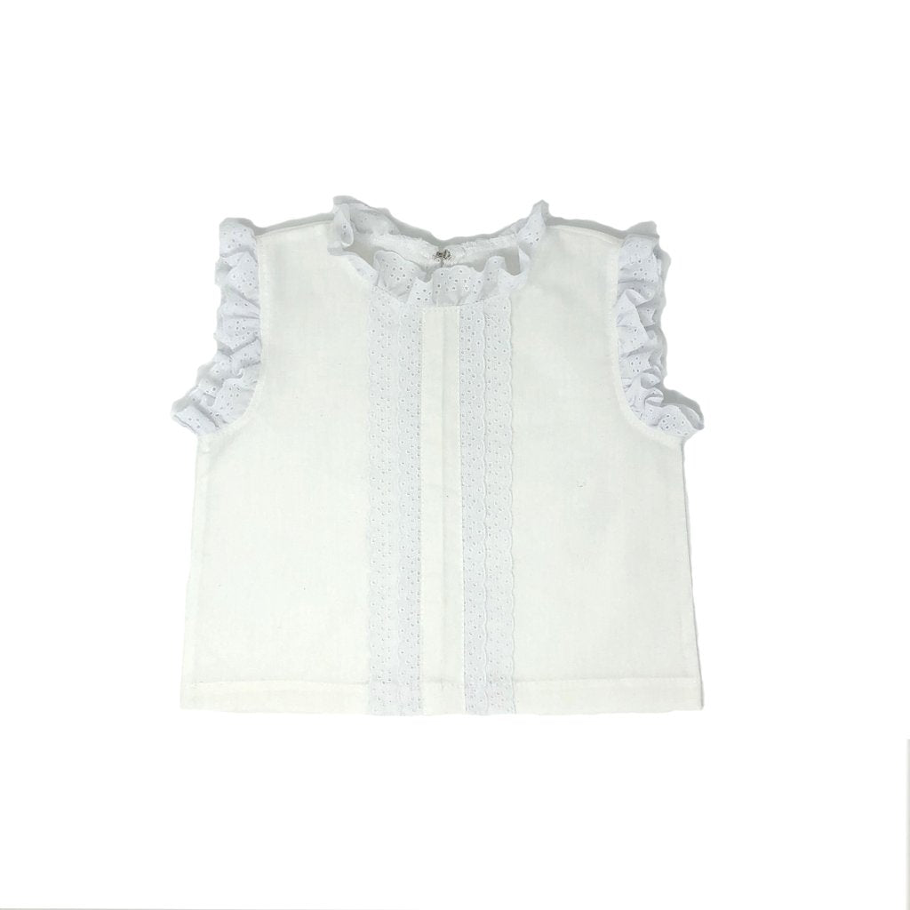 Girls White Lace Trim Top
