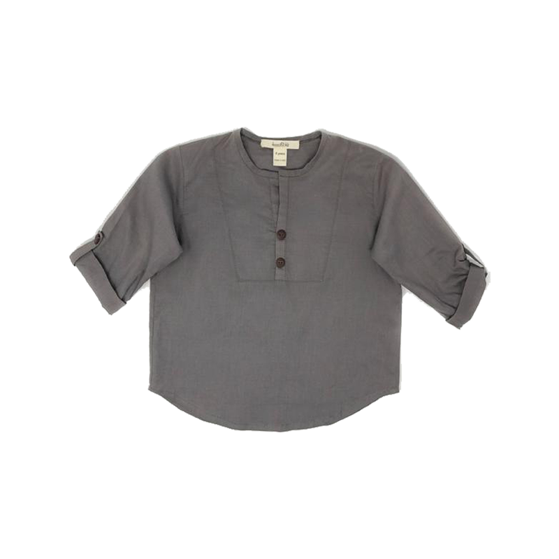 Boys Taupe Three-Quarter-Sleeve Shirt