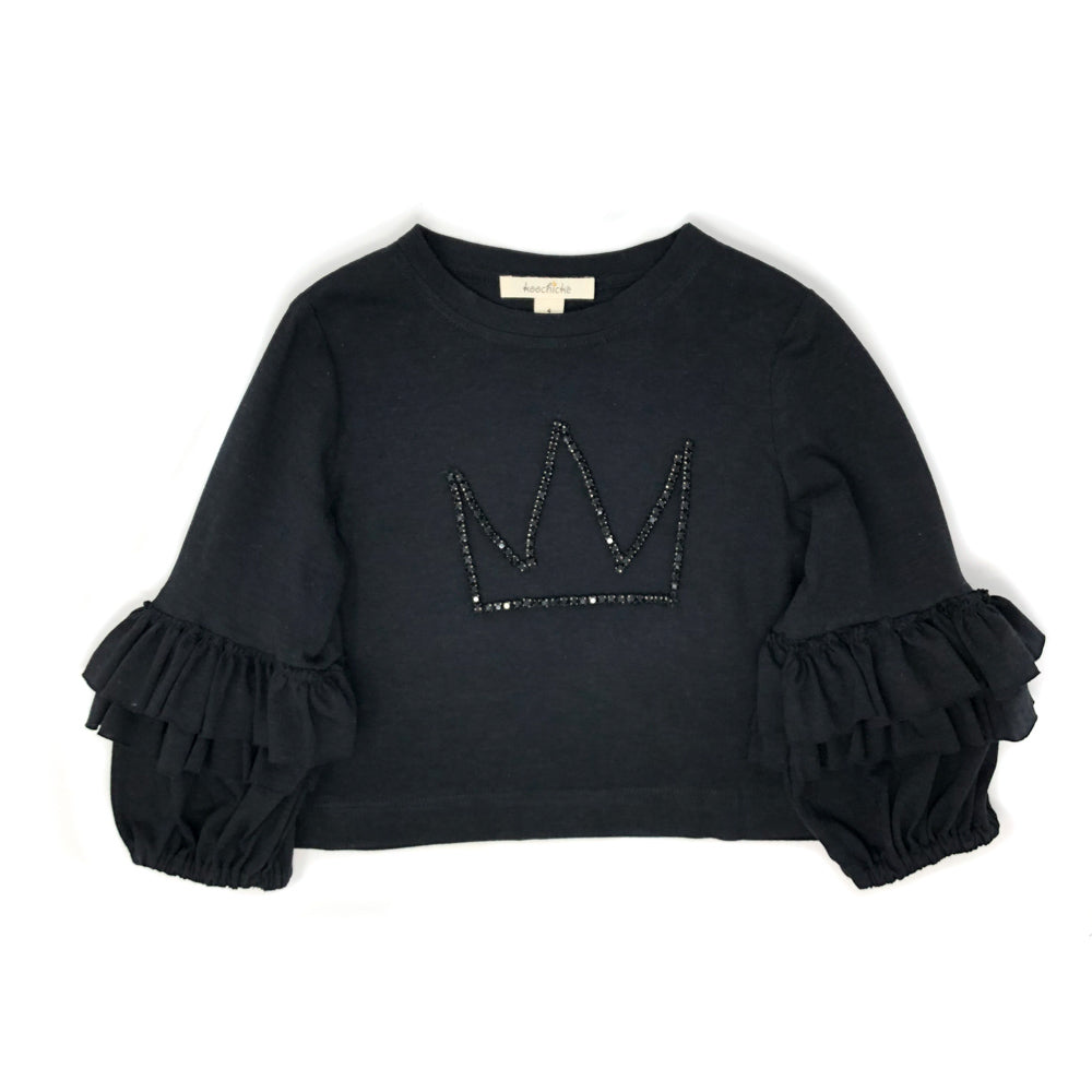 Crown-trimmed long sleeve top