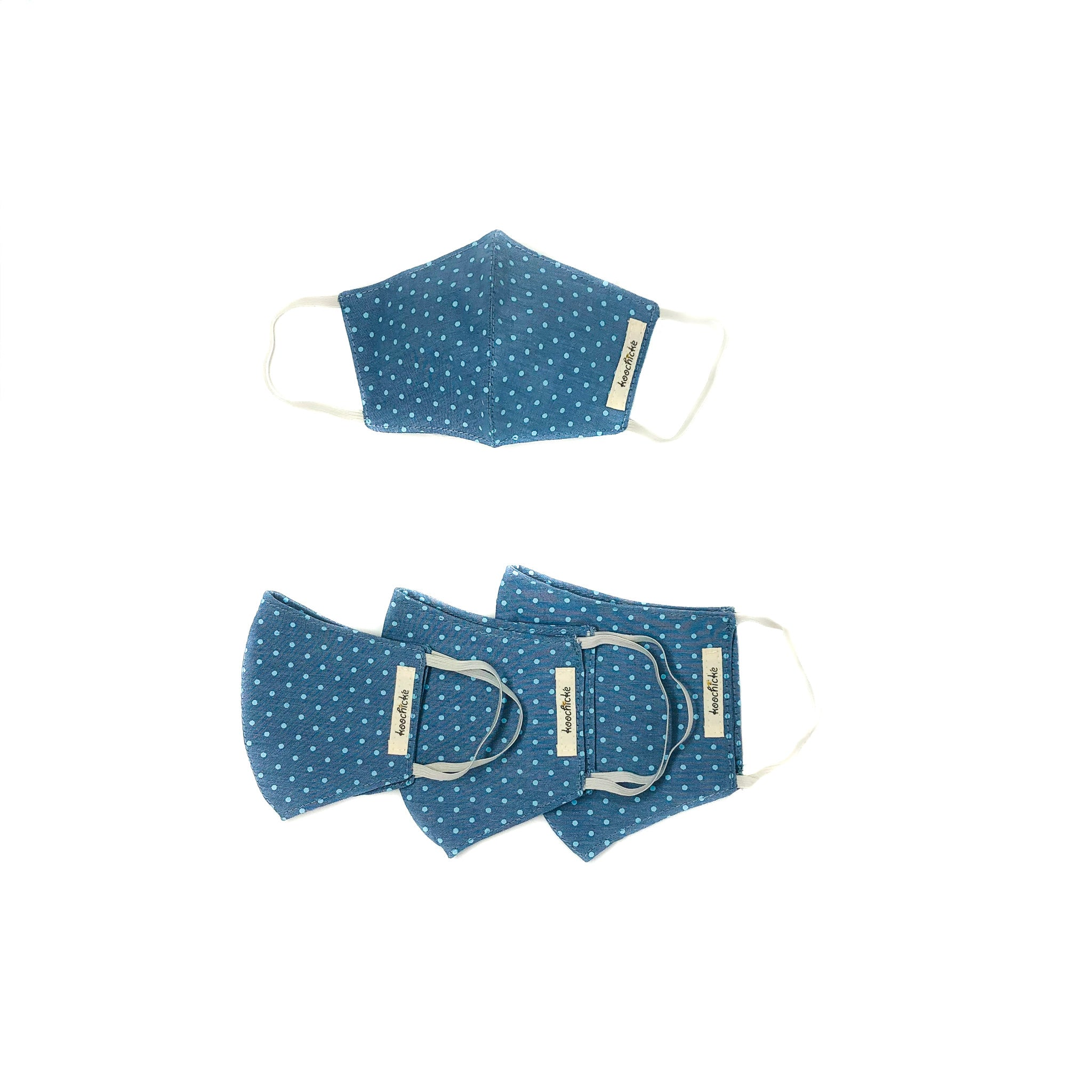 Blue Polka Dot Mask- Family Package (4 pcs)