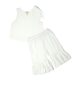 Girls White Ruffle Pants