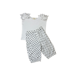 Girls White Polka Dot Capri Pants