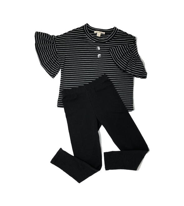 Set of Black Striped Top and Leggings