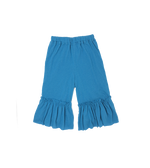 Girls Blue Top with Ruffle Pants Set