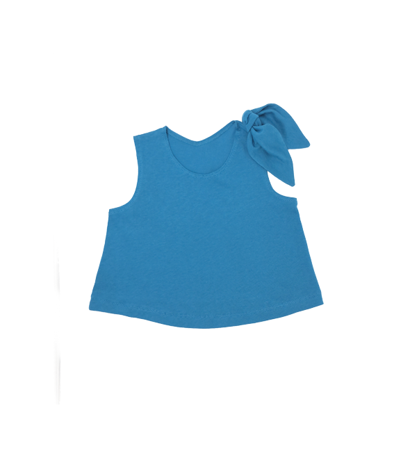 Girls Blue Top with Shoulder Bow